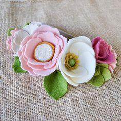 Handmade Felt Floral Crown // One Size // Nylon Headband //