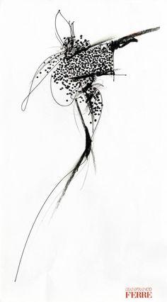 Fondazione Gianfranco Ferré / Collections / Woman / Prêt-à-Porter / 1990 / Fall / Winter Fashion Illustration Sketches, Illustration Mode, Illustrations, Fashion Design Portfolio, Fashion Design Sketches, Sketch Inspiration, Creative Inspiration, Moda Fashion, Fashion Art