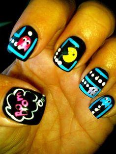 OMG Pac Man nails...soo cute!