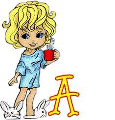 Alfabeto de nena rubia con