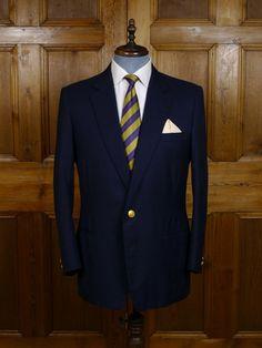Vintage Savile Row Bespoke Blue Worsted Blazer w/ MCC Buttons 42L - Blazers Savile Row