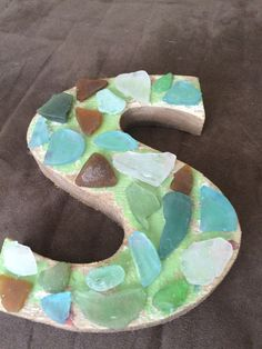 Letter with sea glass decorations