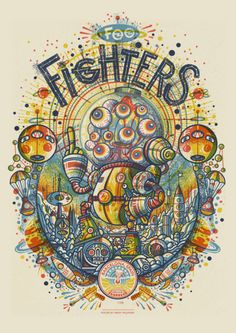 Foo Fighters | Poster Uprysing Rock Posters, Band Posters, Concert Posters, Music Posters, Gig Poster, Foo Fighters Poster, Modern Body Art, Flying Dog, Doodle Art Drawing