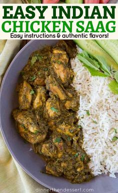 Chicken Saag-Chicken Saag is a classic Indian curry Chicken recipe with Spinach and cream that is stewed together until thick and creamy in under an hour. Indian Chicken Recipes, Easy Indian Recipes, Easy Chicken Recipes, Asian Recipes, Spinach Recipes, Healthy Recipes, Curry Recipes, Cooking Recipes, Indian
