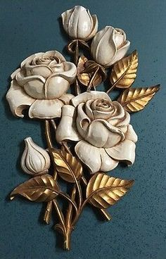 Discover thousands of images about Vintage Roses Wall Art Plaque 1962 Hollywood Regency Homco Syroco Wood Carving Designs, Wood Carving Art, Wood Art, Clay Wall Art, Mural Wall Art, Clay Art Projects, Clay Crafts, Intarsia Wood, Home Interiors And Gifts