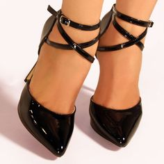 Pleaser Engaging Black Patent Pointed Toe 5-Inch Pumps