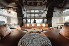 Cloudbreak yacht interior with helicopter
