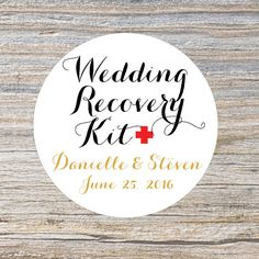 Wedding Recovery Kit Stickers Wedding Favor by MailboxHappiness