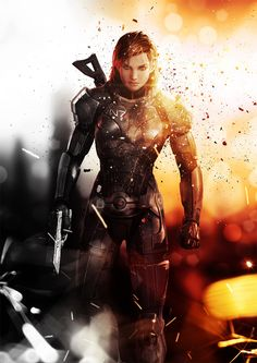 Female Commander Shepard Mass Effect illustrated poster // fem shep commander fem shep shepard mass effect me3 poster wall art #masseffect
