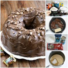 Milky Way Cake is a huge hit at our house, it is made with melted Milky Way candy bars and topped with a chocolate marshmallow ganache! Sweet Desserts, Just Desserts, Sweet Recipes, Delicious Desserts, Baking Desserts, Cake Baking, Chocolate Chip Cake, Chocolate Marshmallows, Chocolate Desserts