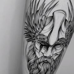Viking warrior tattoo in blackwork with sketch on the leg created by the Brazilian tattoo artist Vini Dantas. old school frases hombres hombres brazo ideas impresionantes japoneses pequeños tattoo Hand Tattoos, Body Art Tattoos, Tribal Tattoos, Sleeve Tattoos, Couple Tattoos, Tattoos For Guys, Viking Warrior Tattoos, Cute Tattoos With Meaning, Homemade Tattoos