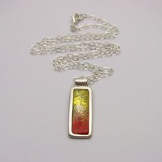 Silver Leaf Necklace Bright Autumn Colors by IslandGirlExpression