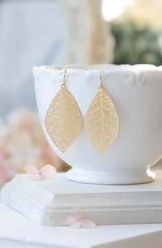 Gold Leaf Earrings Gold Filigree Leaf Dangle Earrings Woodland Jewelry Bohemian Earrings Boho Chic Modern Everyday Earrings Gift Idea