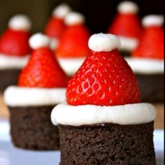 Santa brownies.  I gained a pound looking at them. Yummy.