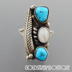 NATIVE AMERICAN JOYCE WASETA ZUNI STERLING SILVER TURQUOISE MOTHER OF PEARL FEATHER RING SIZE 7.25
