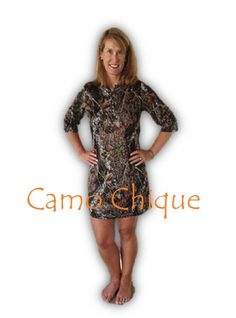 Women Plus Reg Mossy Oak Camo Nightgown Henley Sleepshirt Sleep Shirt Gown S-XXL