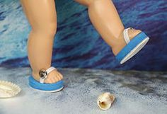 "BReeZy Light Blue and White ~FLiP-FLoPs~ for Ginny. My own design, for your Vogue Ginny 7.5-8"" dolls to wear to the Beach. Fits Muffie and Madame Alexander 7.5-8"" dolls too. Other colors are available and this set available on special order which takes 2-3 days to make and ship at my website www.karmelapples.com now."