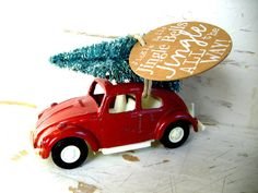 Vintage Red Volkswagen Bug With A Glittered Bottle Brush Tree On Top Christmas Ornament For The Lover Your List