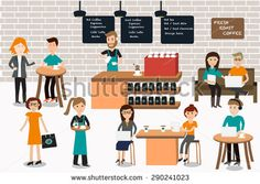 People meeting in the coffee shop infographics elements.illustrator EPS10.with barista and servant staff - stock vector