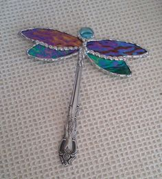 Stained Glass Dragonfly Suncatcher by PineTreeGlassWorks on Etsy