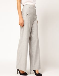 ASOS Wool Touch Wide Leg Trousers