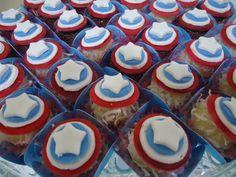 Decoração de festa tema Capitão América...Captain America Birthday Party Ideas...Docinhos Capitão América
