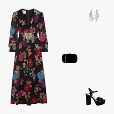 Gucci embellished silk-blend dress, $5,980, net-a-porter.com; Wwake Veil earrings, $515, net-a-porter.com; Asos True Decadence box clutch, $34, asos.com; Schutz Samanta platform sandals, $200, schutz-shoes.com