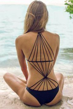 Black Strappy Design Stretch Monokini