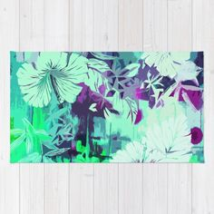 Hula Traffic Rug by Vikki Salmela | Society6, new, abstract #green #aqua #pink #hibiscus #flower #tropical #aloha #art on #throw #rugs and coordinating products; #duvet covers, #pillows #wall art and more. Go tropical?