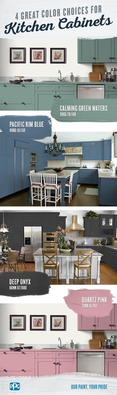 Looking for a change in the kitchen but not sure which paint color scheme to go with? There are lots of options to choose from, but if you want your kitchen to feel inviting and modern, we have five expert recommendations. Kitchen Redo, Home Decor Kitchen, Home Kitchens, Kitchen Remodel, Kitchen Design, Kitchen Ideas, Kitchen Paint Colors, Painting Kitchen Cabinets, Cabinet Colors