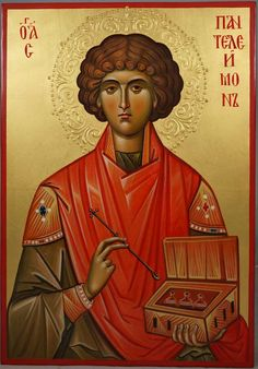High quality hand-painted Orthodox icon of Saint Pantaleon (halo relief). BlessedMart offers Religious icons in old Byzantine, Greek, Russian and Catholic style. Paint Icon, Byzantine Icons, Religious Icons, Orthodox Icons, Roman Catholic, Christian Faith, Christianity, Halo, Catholic Traditions