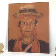 PAINTING PORTRAIT OLD MAN CENTRAL AMERICAN HISPANIC LATINO ART VINTAGE 20x24 BIG #FolkArt