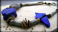 Moon Goddess; fine silver, bronze, lapis lazuli, basha bead