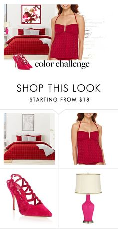 """""""Red and Pink"""" by airin-flowers ❤ liked on Polyvore featuring interior, interiors, interior design, home, home decor, interior decorating, Lacoste, A.N.A, Manolo Blahnik and colorchallenge"""