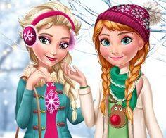 Elsa and Anna Winter Trends Frozen Games, Elsa Anna, Winter Trends, Baby Games, Princess Zelda, Disney Princess, Animation Film, Disney Style, Disney Frozen