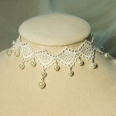 $6.97 Vintage White Lace Decorated Pearl Pendant Necklace For Women