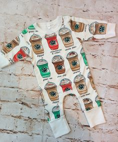 Coffee House Romper (Infant) sizes 0 thru 18 months available at RoseGoldVintage.com