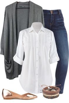 This is great for weekend! Love the tuxedo detail on the shirt and the cardigan.