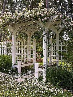 Love this rose trellis seating
