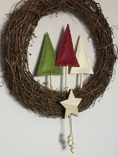 Rustic scandi style christmas wreath decoration wooden