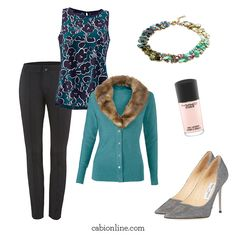 #cabi - Keep the fur on our Tearoom Cardigan to add extra flair to your look for a night out on the town!