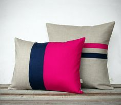 Colorblock Stripe Pillow Cover Set - Pastel Pink & Cream Striped Linen Pillow and Colorblock Pillows by JillianReneDecor (Set of Colorblock Stripe Pillow Set - Hot Pink and Navy Striped Pillow - Hot Pink and Navy Colorblock Pillow Navy Pillows, Linen Pillows, Decorative Pillows, Cushions, Throw Pillows, Sew Pillows, Cushion Cover Designs, Cushion Covers, Pillow Covers