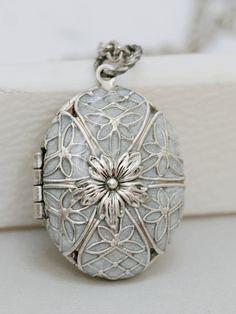 Locket, Silver Locket,Pearl White Locket,filigree locket necklace,photo locket ,vintage locket,Wedding Necklace,bridesmaid necklace. $69.99, via Etsy.