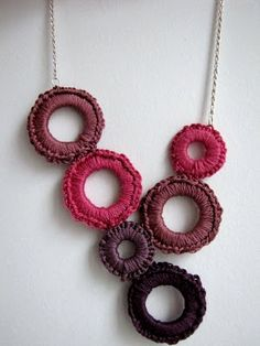 A crocheted-hoop necklace. I've been meaning to make a few of these, I just need to get the hoops!