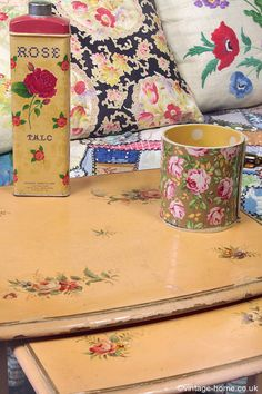 Vintage Home - Pair of Pretty 1930s Floral Painted Tables: www.vintage-home.co.uk