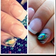 Pinterest inspiration on the left; my design on the right. I can't help it, I just love peacock feathers! These will be my wedding nails too ;)