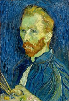 A digital print of Vincent van Gogh executed in Saint-Rémy period. All Self-Portraits executed in Saint-Rémy show the artist's head from the left, i.e. the side with ear not mutilated. - Gloss card st
