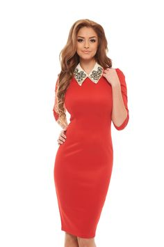 StarShinerS Inspiring Red Dress Daily Dress, Girl Next Door, Office Fashion, Fashion Dresses, High Neck Dress, Bodycon Dress, Red, Inspiration, Collection