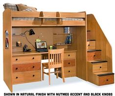 Lowest price online on all Berg Furniture Utica Lofts Twin Loft Bed with 5 Drawer Staircase -
