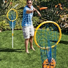 Easy to Make? Test your skill with the portable flying disc game that's fun for all ages. Fishing nets and discs? Family Games, Games For Kids, Games To Play, Adult Games, Lawn Games, Backyard Games, Outside Games, Camping Games, Indoor Games